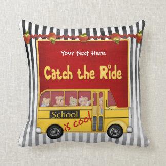 School is Cool School bus Throw Pillow