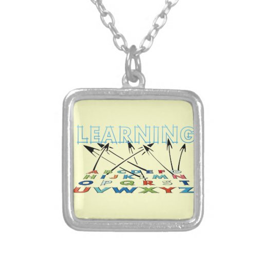 School is for Learning Square Pendant Necklace