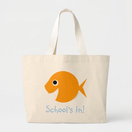 School Is IN Cute Cartoon Goldfish Teacher Bookbag Large Tote Bag