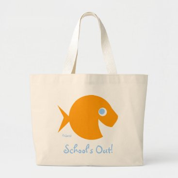 Beach Themed School Is Out Cute Blue-Eyed Goldfish Teacher Large Tote Bag