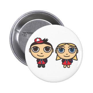 School Kids Cartoon Character Button Badge