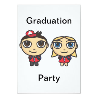 "School Kids Cartoon Character Graduation Party 5"" X 7"" Invitation Card"