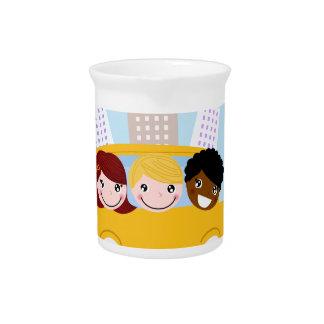 School kids in yellow bus drink pitcher