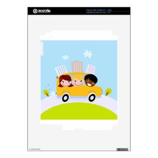 School kids in yellow bus iPad 2 decals