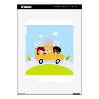 School kids in yellow bus iPad 3 skins