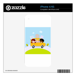 School kids in yellow bus skins for the iPhone 4S