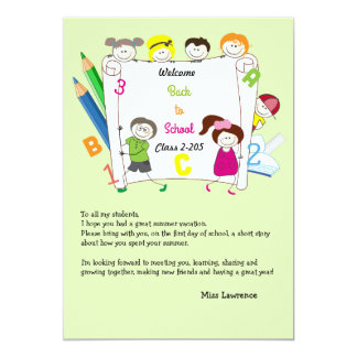 School Kids Teacher's Ice Breaker Notecard