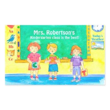 Beach Themed School Kindergarten Class Students Custom Name Rectangular Sticker