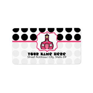 School Label For Teachers - Black Polka Dot & Pink Address Label