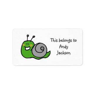 School Labels ( green snail )
