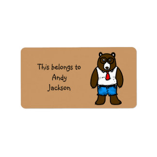 School Labels ( hipster brown bear )