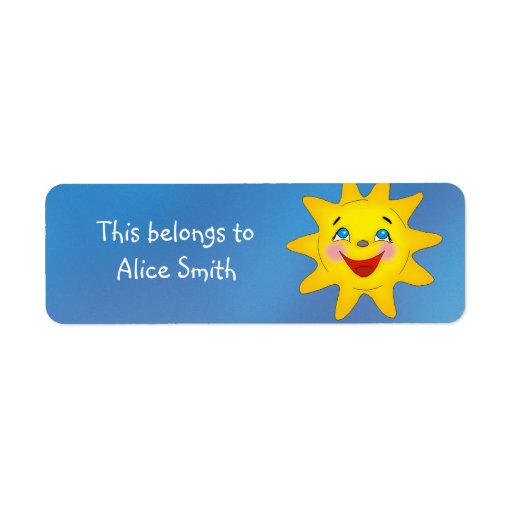 School Labels with Smile Sun