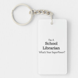 School Librarian Double-Sided Rectangular Acrylic Keychain