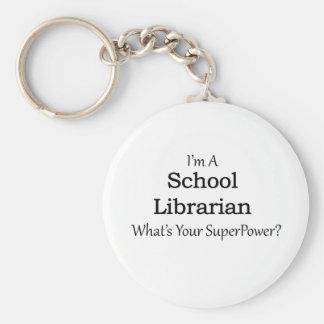 School Librarian Basic Round Button Keychain