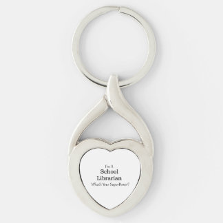 School Librarian Silver-Colored Heart-Shaped Metal Keychain