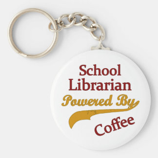 School Librarian Powered By Coffee Basic Round Button Keychain