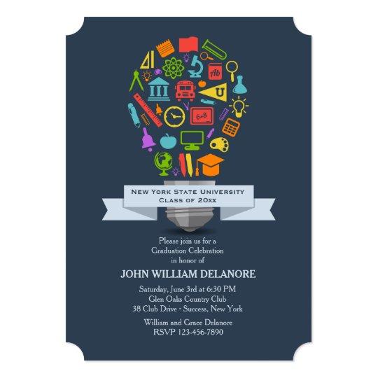 School Light Bulb Graduation Invitation – Zazzle Graduation Invitations