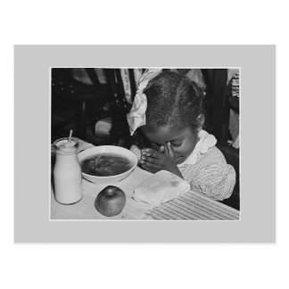 School lunch program, 1930s postcard