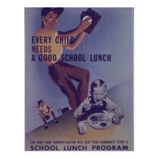 School Lunch Program - Vintage Postcard