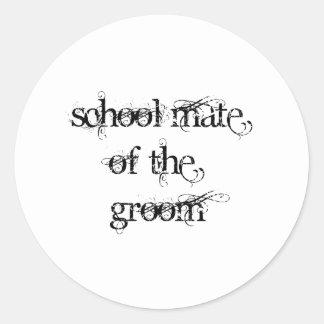 School Mate of the Groom Classic Round Sticker