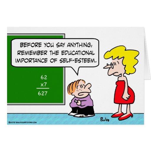 school math self esteem educational card