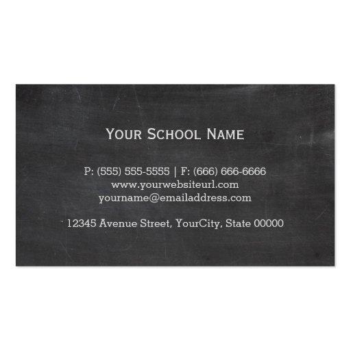 School Math Teacher Mathematics Formula Chalkboard Business Card Templates (back side)