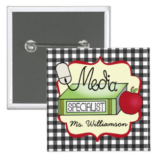 School Media Specialist - Gray Gingham Pinback Buttons