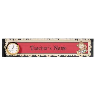 School Monkey Teachers cartoon name plate