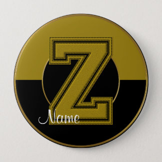School Monogrammed Button, Black-Gold Letter Z Button