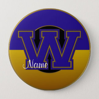 School Monogrammed Button, Blue-Gold Letter W Pinback Button