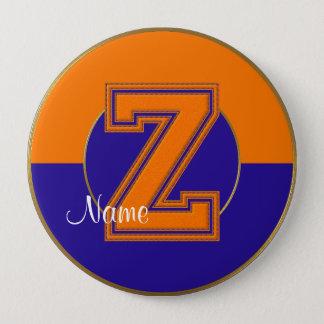 School Monogrammed Button, Orange-Blue Letter Z Pinback Button