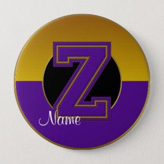 School Monogrammed Button, Purple-Gold Letter Z Button