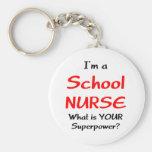 School nurse basic round button keychain