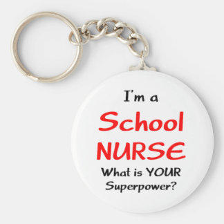 School nurse basic round button keychain