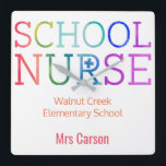 "School Nurse Colorful Personalized School Square Wall Clock<br><div class=""desc"">School Nurse Colorful Personalized Typography School Wall Clock. Watercolor texture rainbow letters spelling SCHOOL NURSE in red orange yellow green blue and purple. Personalize with name and school or delete text to remove information. Fun gift for your favorite school nurse to hang up at school in her office. Colorful and...</div>"
