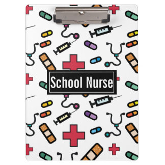 School Nurse Medcial Pattern Nurses Clipboard