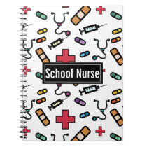School Nurse Medical Pattern Fun Notes Spiral Notebook