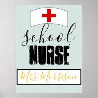 School Nurse Office Decor; Personalized Poster