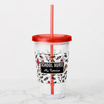 School Nurse Personalized First Aid Pattern Acrylic Tumbler