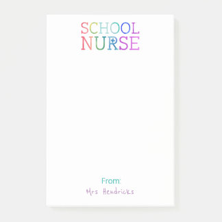 School Nurse Personalized Fun Colorful Typography Post-it Notes