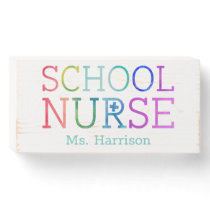School Nurse Rainbow Typography Personalized Wooden Box Sign