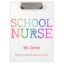 School Nurse Watercolor Typography Personalized Clipboard