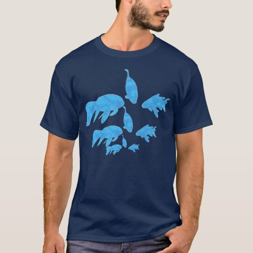 School of Abstract Blue Koi Fish Shirt