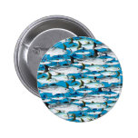 School of Atlantic Surf Fish in blue 2 Inch Round Button