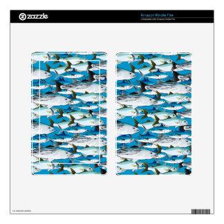 School of Atlantic Surf Fish in blue Kindle Fire Skin