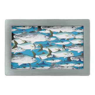 School of Atlantic Surf Fish in blue Rectangular Belt Buckle