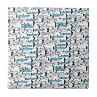 School of Barracuda fish pattern Ceramic Tile