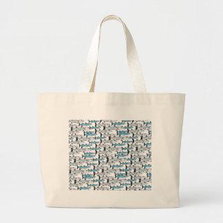 School of Barracuda fish pattern Large Tote Bag