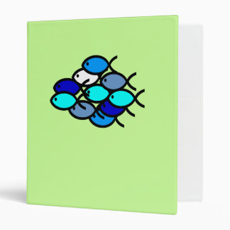 School of Christian Fish Symbols - Blue - 3 Ring Binder