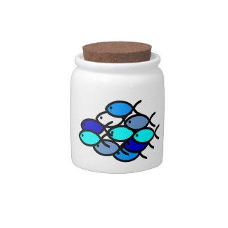 School of Christian Fish Symbols - Blue - Candy Dish